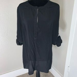 Banana Republic 100% Silk Black Button Up Blouse